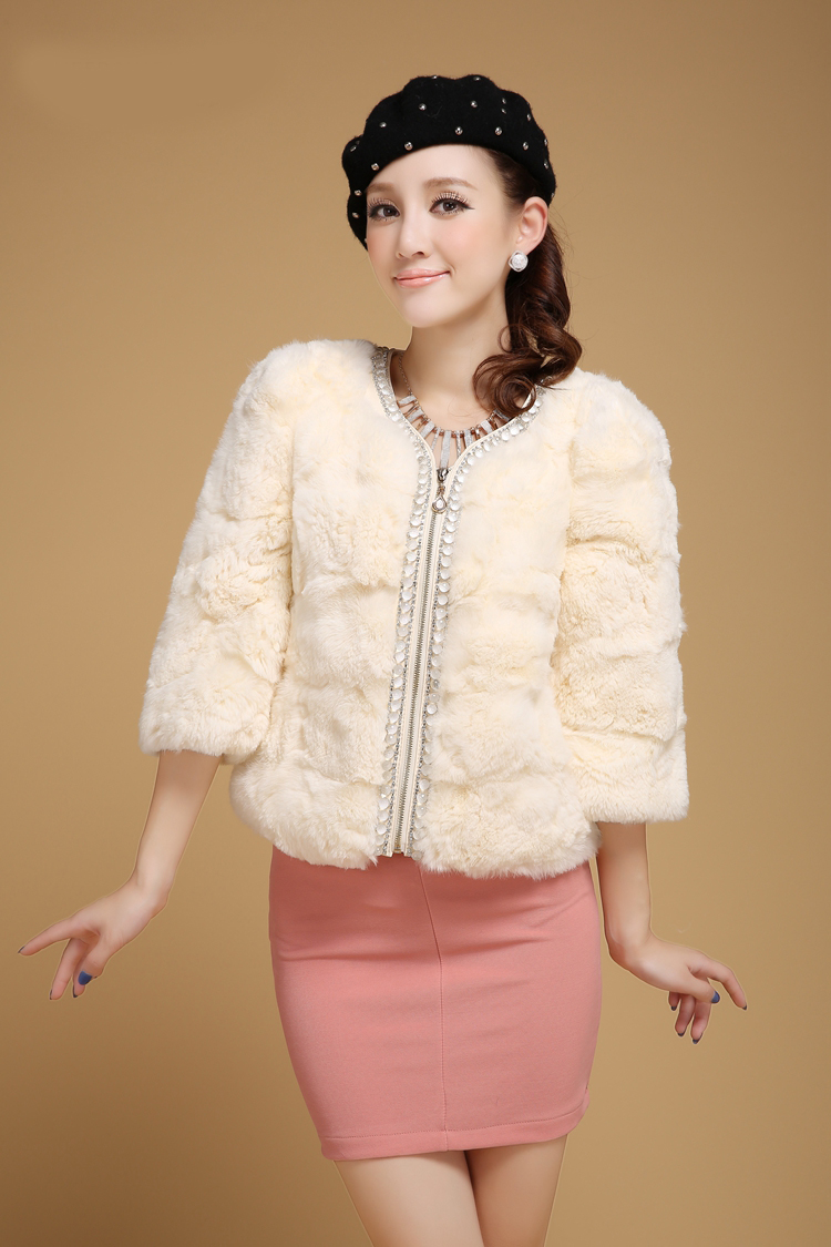 Off-white Beaded Zipper Seven Sleeve Short Rabbit Fur Coat P1313 ...